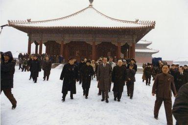 President Nixon and his entourage tour the Forbidden City in Beijing