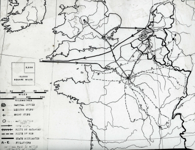 """'Marshall Plan in Action' Trip to W. Europe"" map"