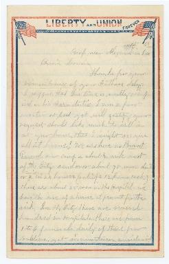 Horatio Eggleston to Mary Eggleston