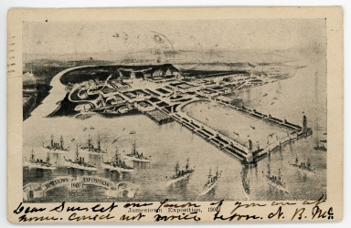 Postcard featuring aerial view of the Jamestown Exposition