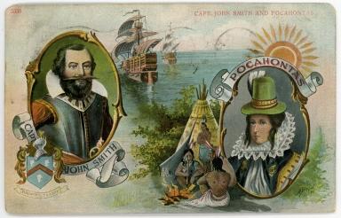 Postcard featuring Pocahontas and John Smith