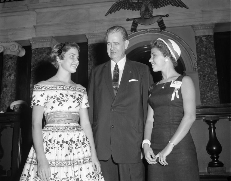 Senator Olin D. Johnston (D-SC) with two young women from Girls Nation program
