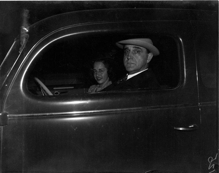 Senator Sherman Minton (D-IN) and his daughter in a car