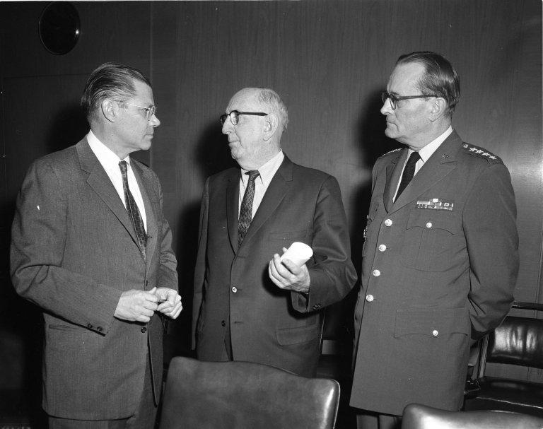 Senator Richard B. Russell (D-GA) with Secretary of Defense Robert S. McNamara and General Earle G. Wheeler