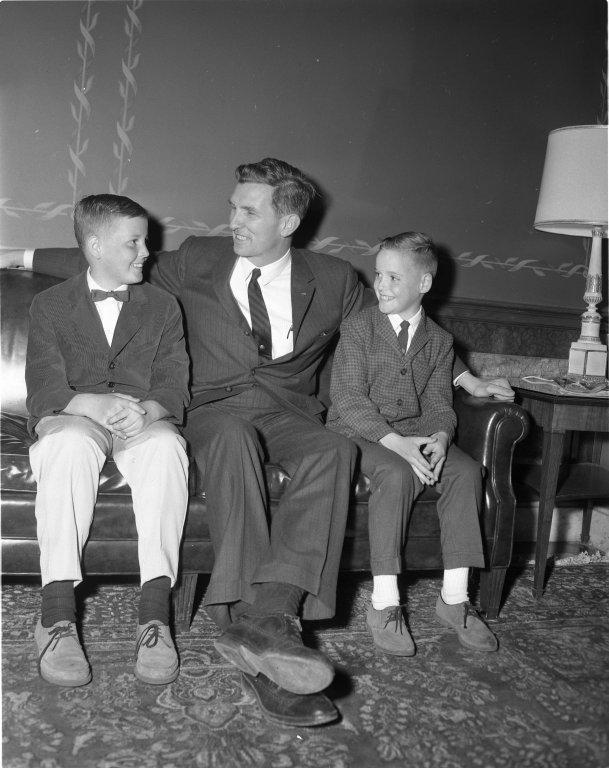 Senator Jospeh D. Tydings (D-MD) with two young boys in the Senate dining room