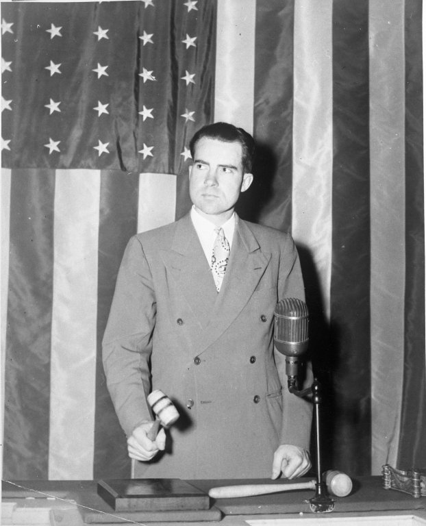 Representative Richard M. Nixon (R-CA) presides over the House during the absence of Speaker Josepsh W. Martin, Jr. (R-MA)