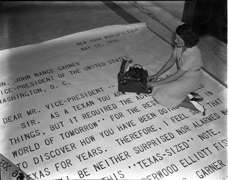 Giant Letter sent to Vice President John N. Garner, written on world's largest typewriter