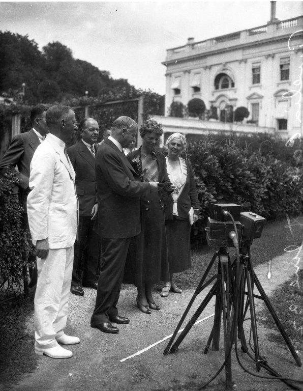 President Herbert Hoover with Amelia Earhart