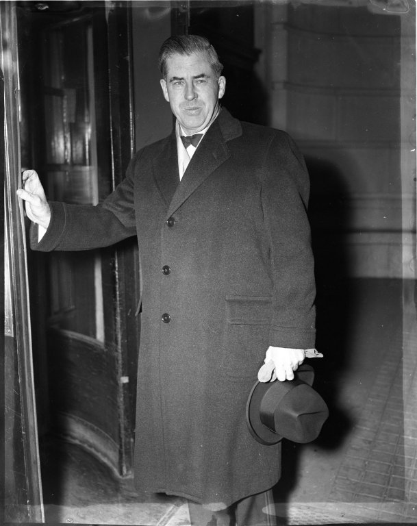 Secretary of Agriculture Henry A. Wallace as he entered the Willard Hotel to attend the annual Alfalfa Club Dinner