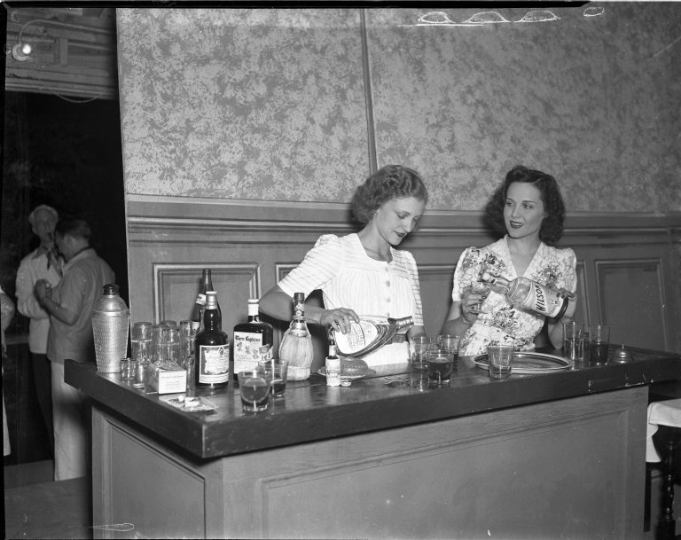 Mary Brian, movie star, At Olney Theater in Maryland, pouring drinks