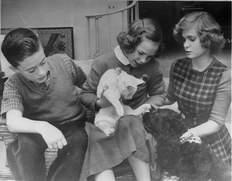 Patricia and Julie Nixon with Washington Star paperboy who found their lost cat