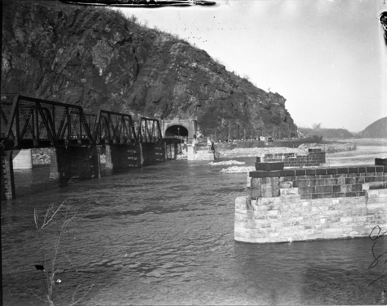 Remains of bridge into Harpers Ferry, West Virginia destroyed by flood