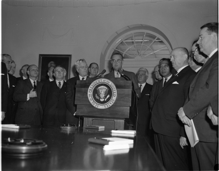 President Lyndon B. Johnson speaking at White House Conference on Immigration