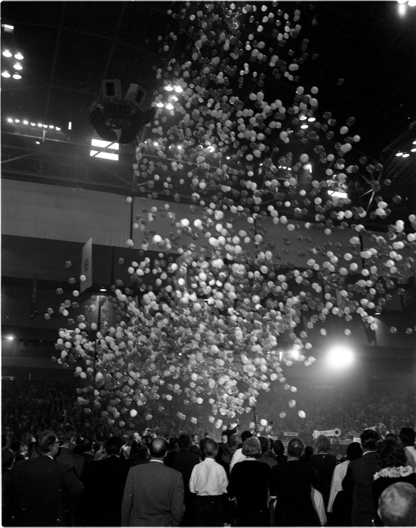 Balloons fall as Senator Barry M. Goldwater (R-AZ) is nominated as the Republican Party's presidential candidate