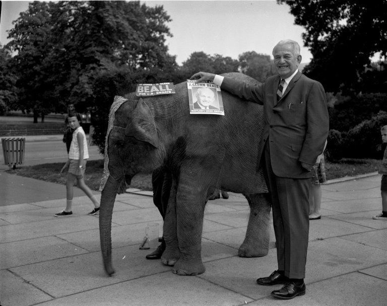 Senator J. Glenn Beall (R-MD) with an elephant