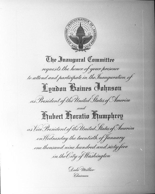 Invitation to President Lyndon B. Johnson's Inauguration