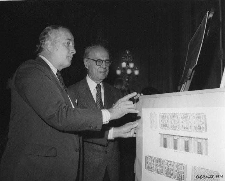 Senator Charles M. Mathias (R-MD) is shown designs for House Restaurant by famed muralist Allyn Cox