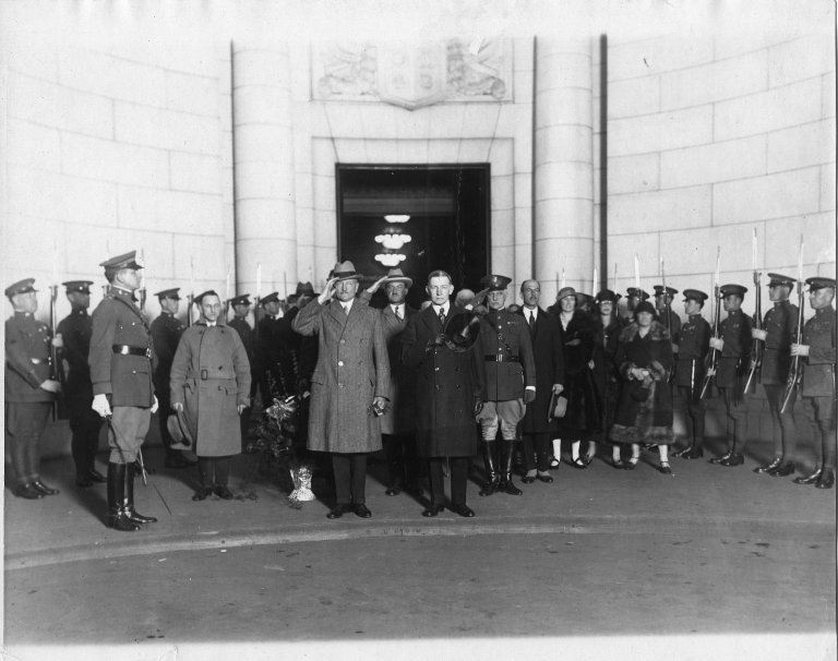 Vice President Charles G. Dawes and General John J. Pershing during ceremony