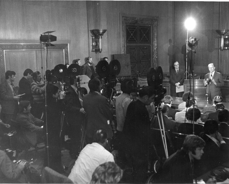 Vice President Gerald R. Ford speaking with the Press