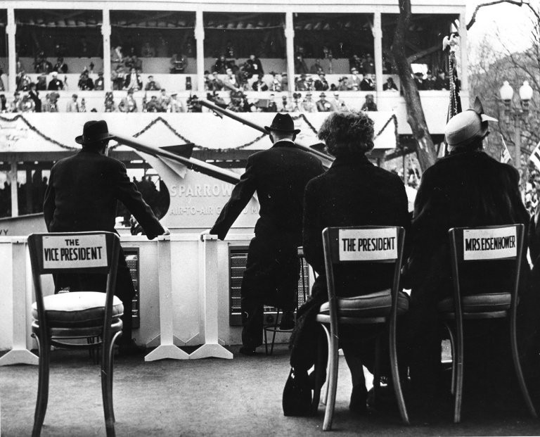 President Dwight D. Eisenhower and Vice President Richard M. Nixon at the 1957 Inaurgural Parade