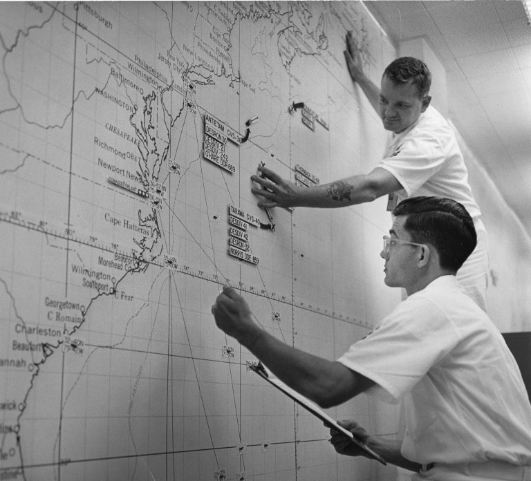 Two men working at the Operations Control Center of the Anti-Submarine Defense Force