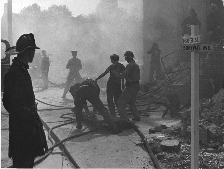 Mock air raid drill at the Civil Defense training center.