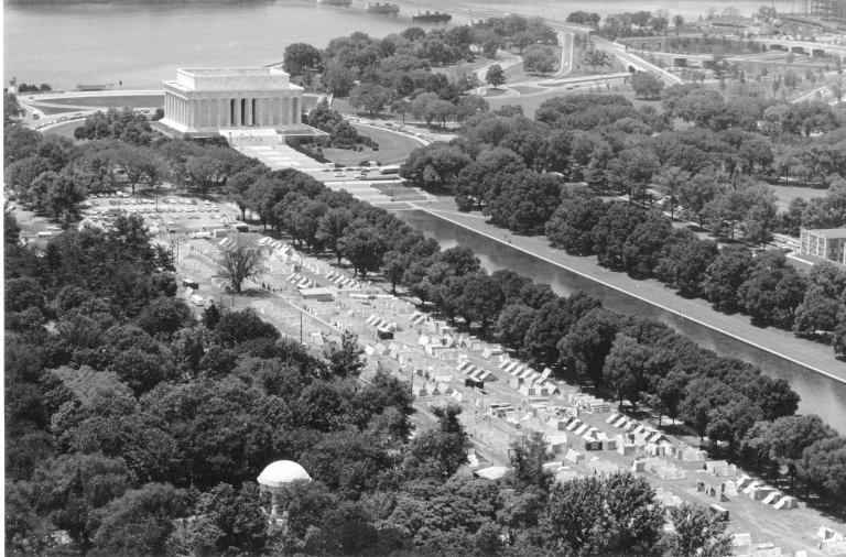 Aerial view of the shantytown built during the Poor Peoples' Campaign