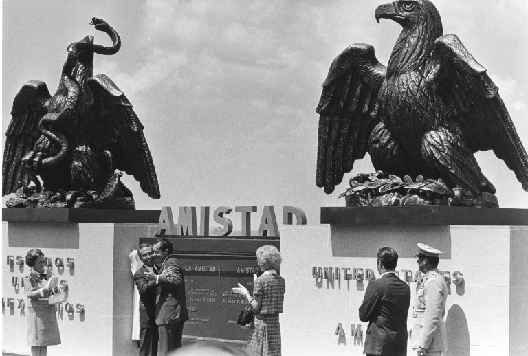 President Nixon meeting with Mexican President Ordaz during a trip to Mexico