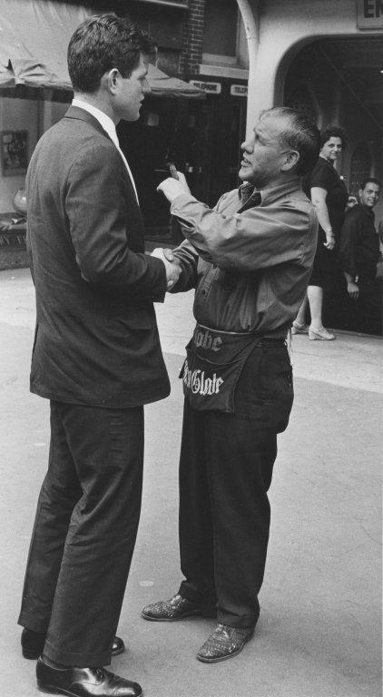 Senator Edward Kennedy (D-MA) and an employee of the Boston Globe