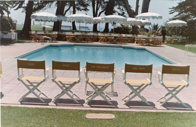 Poolside chairs for President Nixon and his family