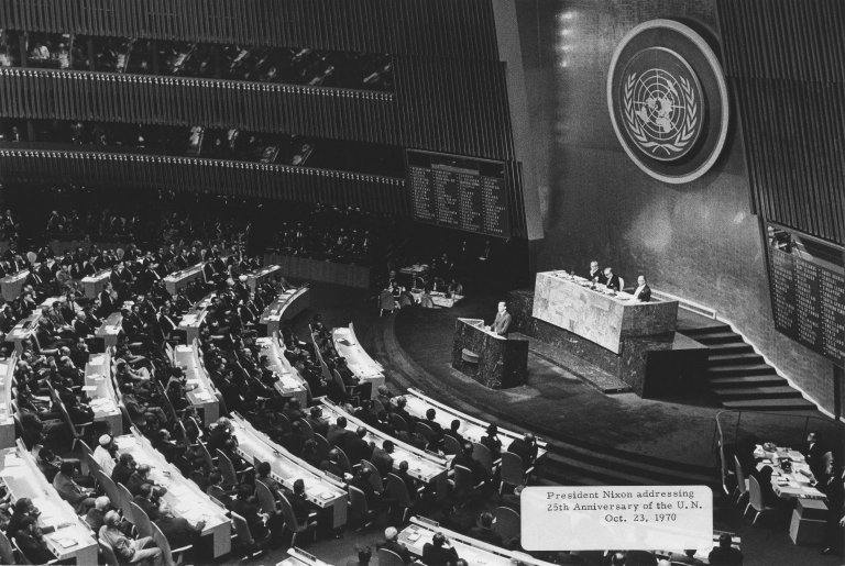 President Nixon addressing the United Nations for its 25th anniversary