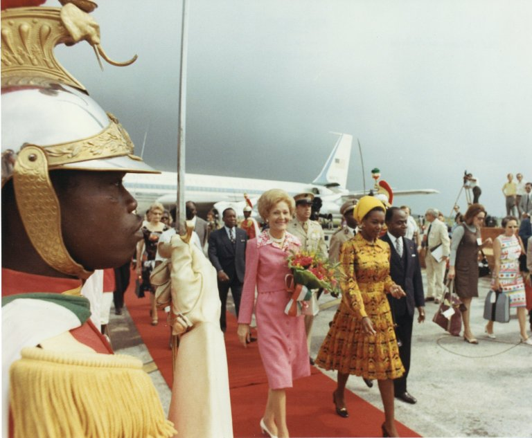 First Lady Pat Nixon's arrival in Africa