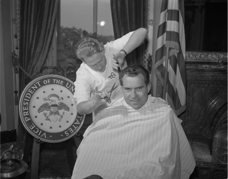 Barber cutting Vice President Nixon's hair