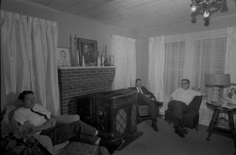 View of the living room of a member of the Klu Klux Klan in North Carolina