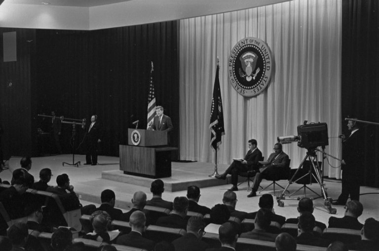 President Kennedy giving a press conference