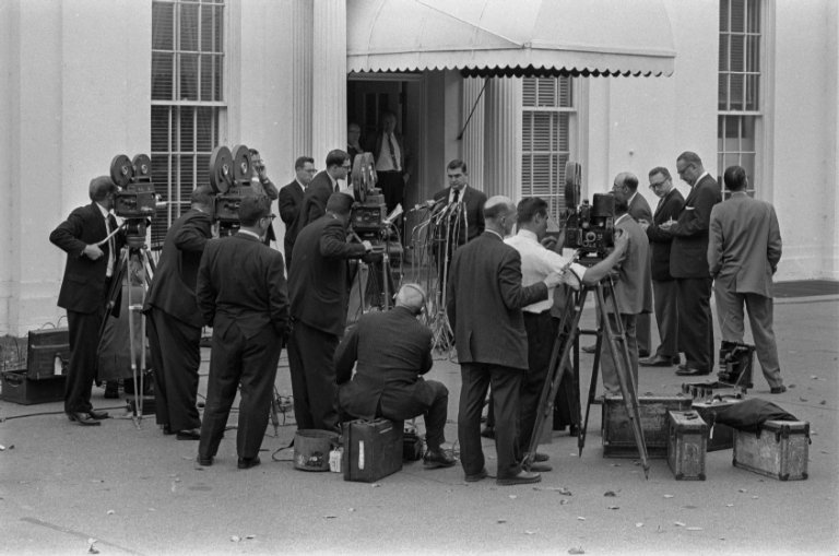White House Press Secretary Pierre Salinger speaking to the press about the Cuban Missile Crisis