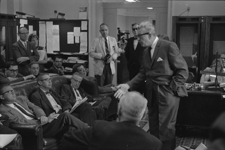 Senator Dirksen (R-IL) speaking to members of the Press about Civil Rights