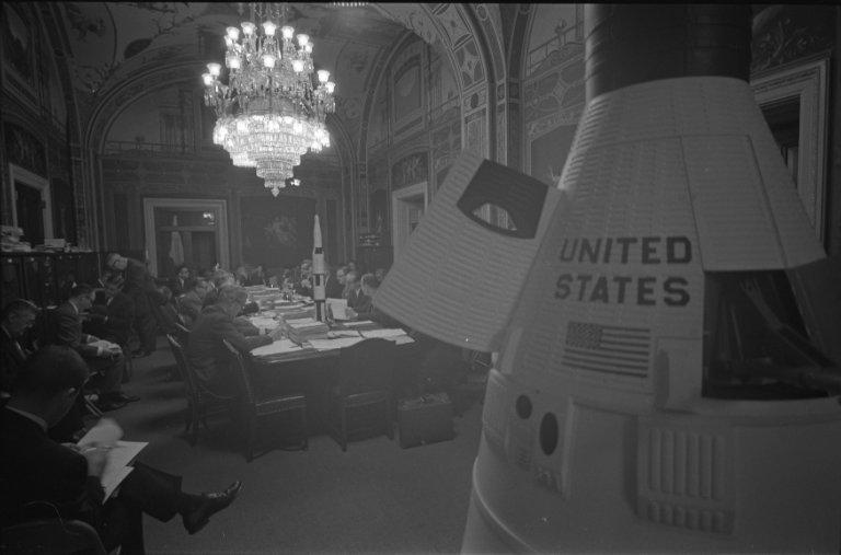 General view of a Senate Committee meeting discussing NASA