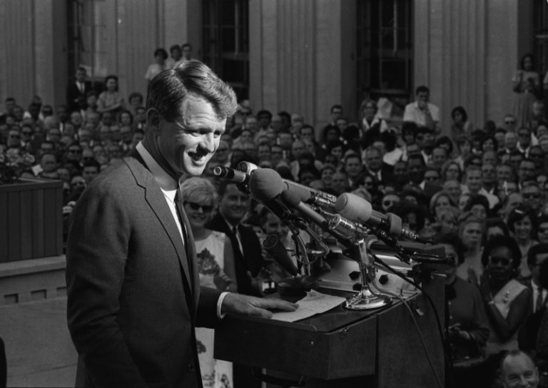 Robert Kennedy announcing his resignation from the position of Attorney General, so that he could run for Senate