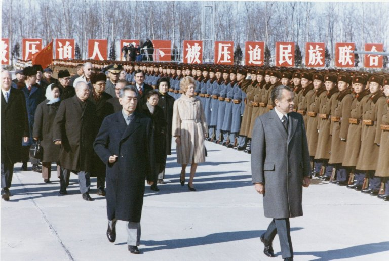 President Nixon reviews the Red Guard during his historic trip to China