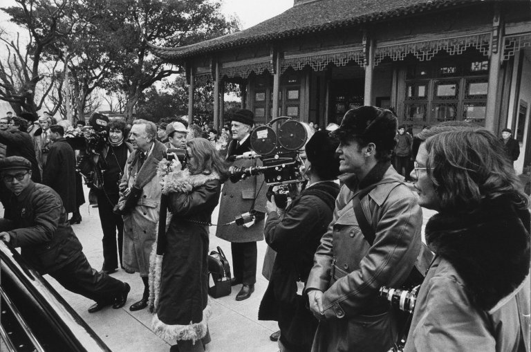 The White House Press Corps in Beijing, China during President Nixon's trip there