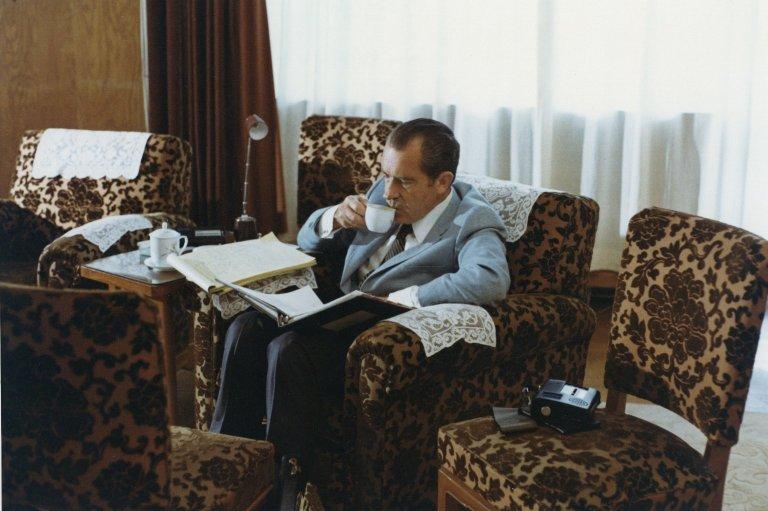 President Nixon takes a coffee break in Beijing