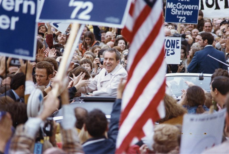President Nixon campaigning for re-election in an unknown location