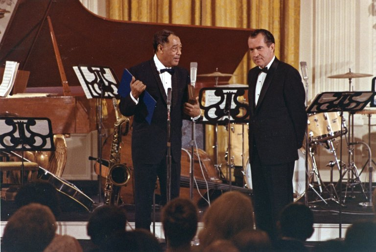 President Nixon talks with Jazz performer Duke Ellington at a White House Gala