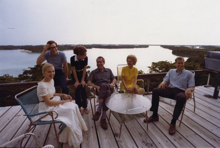 Nixon family relaxes by the water