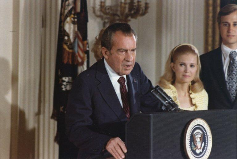 President Nixon bids farewell to his White House Staff