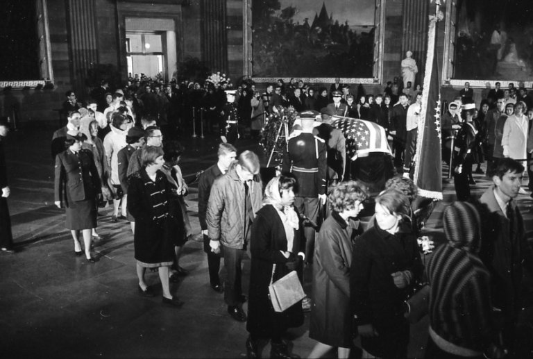 People viewing the Kennedy casket