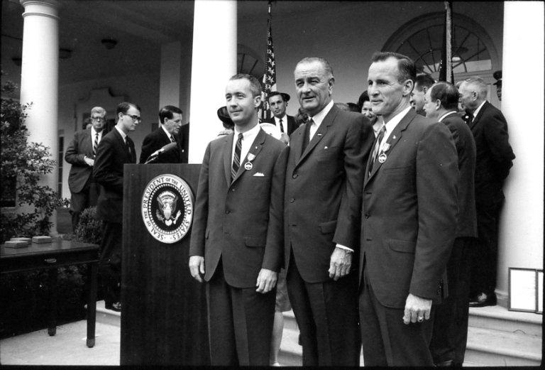Johnson and astronauts
