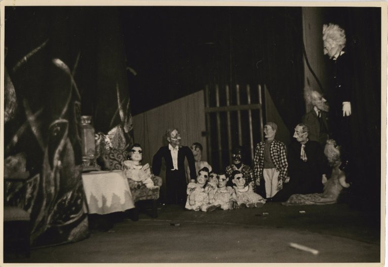 Puppet cast of Marionette Varieties performed in San Francisco