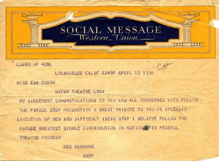 Telegram from George Gerwing to Eda Edson